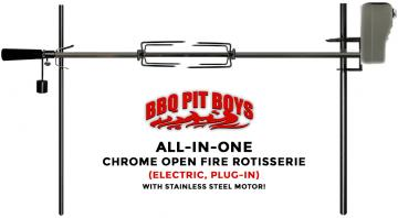 Chrome with Stainless Motor All-In-One Electric Open Fire 45-Inch Rotisserie Kit - Compare to Auspit