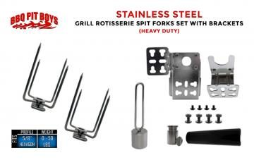 Heavy Duty, Stainless Steel Grill Rotisserie Spit Forks Set with Brackets