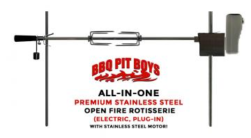 Premium Stainless All-In-One Electric Open Fire 45-Inch Rotisserie Kit - Compare to Auspit